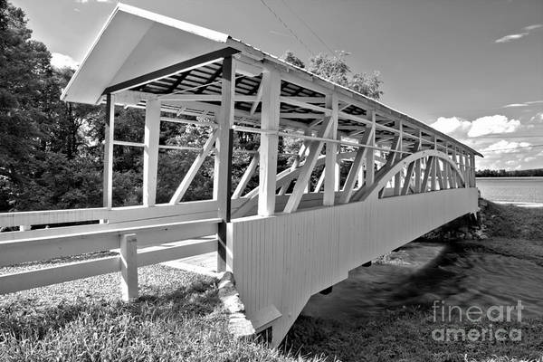 Osterburg Photograph - Bedford Osterburg Covered Bridge Black And White by Adam Jewell
