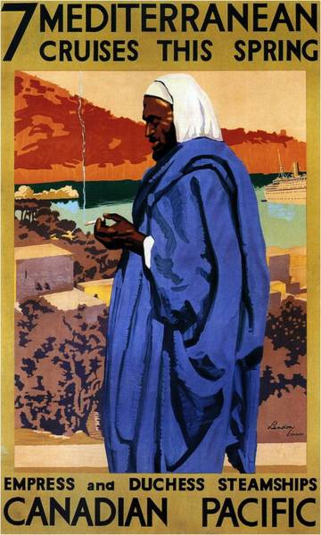 Kunst Painting - Bedouin In A Blue Robe Smoking Cigarette - Vintage Advertising Poster For Canadian Pacific Steamship by Studio Grafiikka