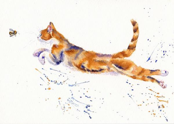 Cat Painting - Bee Airborne by Debra Hall