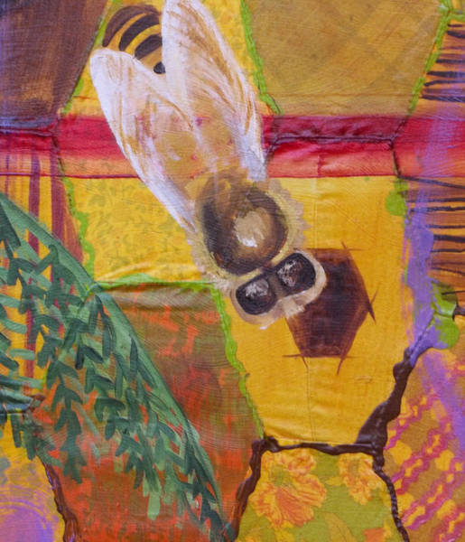 Painting - Bee Detail Of Beehive Painting by Anne Cameron Cutri