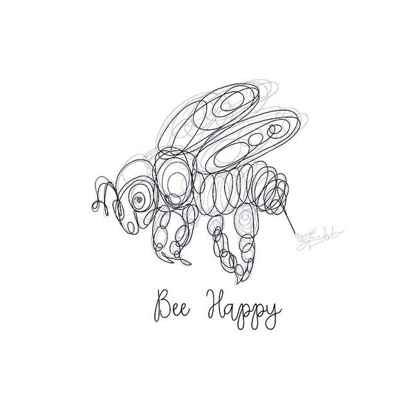 Drawing - Bee Happy Sketch  by OLena Art Brand