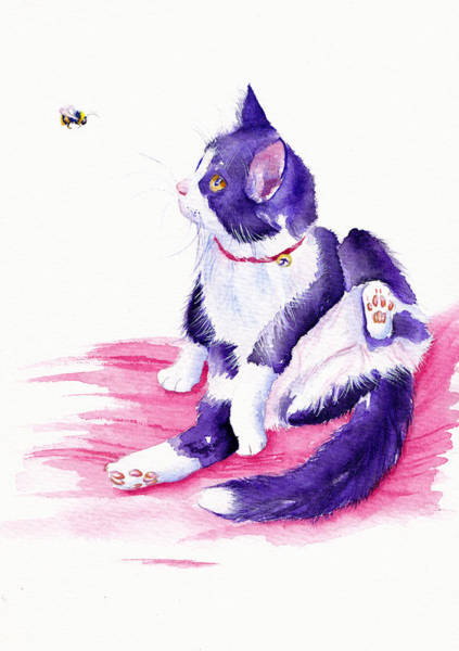 Tuxedo Cat Painting - Bee Interrupted by Debra Hall