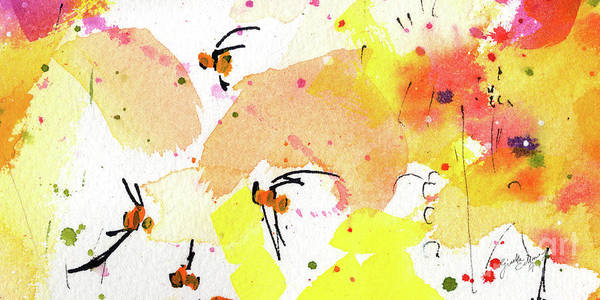 Painting - Bee Leave Me Macro Watercolor And Ink 2 by Ginette Callaway