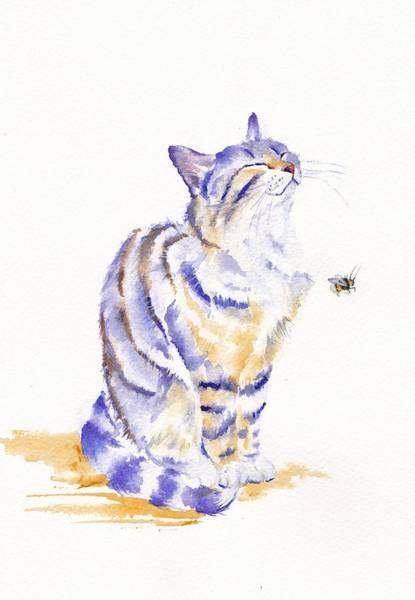 Tabby Cat Painting - Bee Sunworshippers by Debra Hall