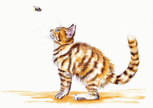 Cat Painting - Bee-witched by Debra Hall