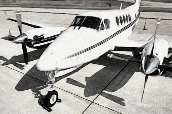 Digital Art - Beechcraft King Air 2 by Patrick M Lynch