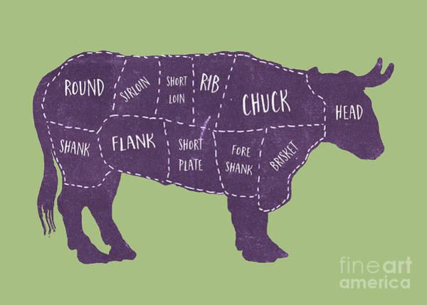 Photograph - Beef Cuts Butcher Print Green by Edward Fielding