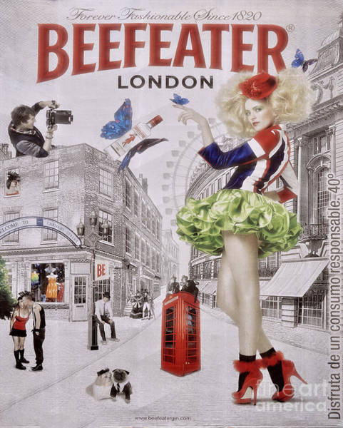 Street Sign Photograph - Beefeater Gin by Mary Machare