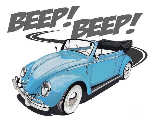 Blue Bug Digital Art - Beep Beep Goes The Bug by Paul Kuras