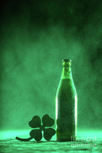 Four Leaf Clover Photograph - Beer Bottle And A Shamrock On A Dusty Background by Michal Bednarek