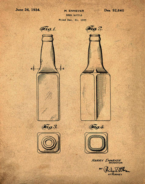 Photograph - Beer Bottle Patent 1934 Sepia by Bill Cannon