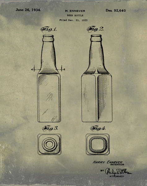 Photograph - Beer Bottle Patent 1934 Vintage by Bill Cannon