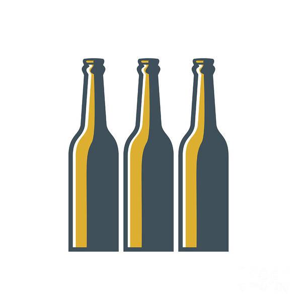 Wall Art - Digital Art - Beer Bottles Retro by Aloysius Patrimonio