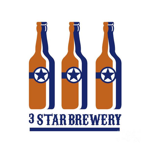 Wall Art - Digital Art - Beer Bottles Star Brewery Retro by Aloysius Patrimonio
