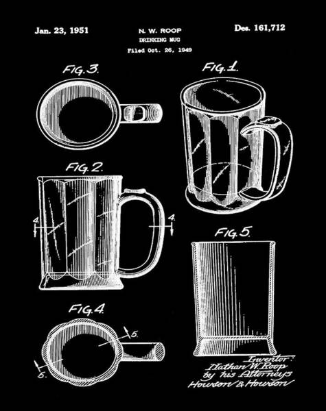 Digital Art - Beer Mug Patent 1951 In Black by Bill Cannon