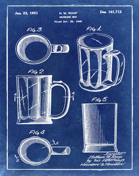Digital Art - Beer Mug Patent 1951 In Blue by Bill Cannon