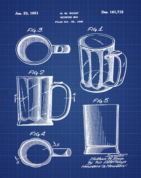 Digital Art - Beer Mug Patent 1951 In Blue Print by Bill Cannon