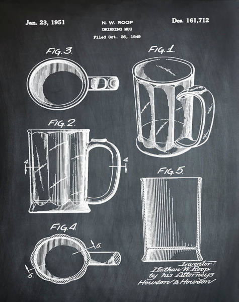 Digital Art - Beer Mug Patent 1951 In Chalk by Bill Cannon