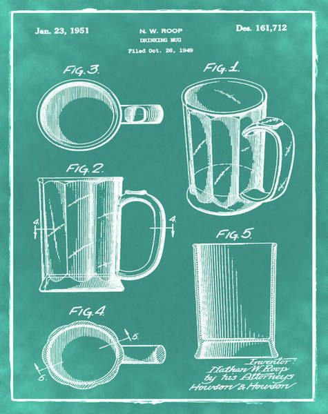 Digital Art - Beer Mug Patent 1951 In Green by Bill Cannon