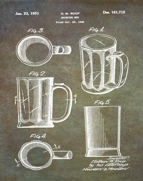 Digital Art - Beer Mug Patent 1951 In Marble by Bill Cannon