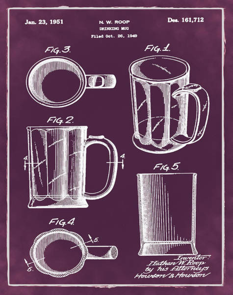 Digital Art - Beer Mug Patent 1951 In Red by Bill Cannon