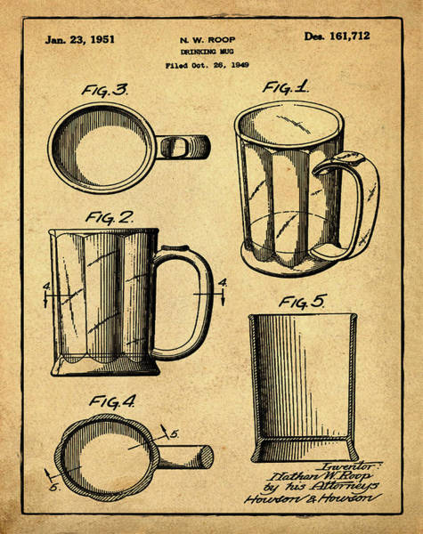 Digital Art - Beer Mug Patent 1951 In Sepia by Bill Cannon