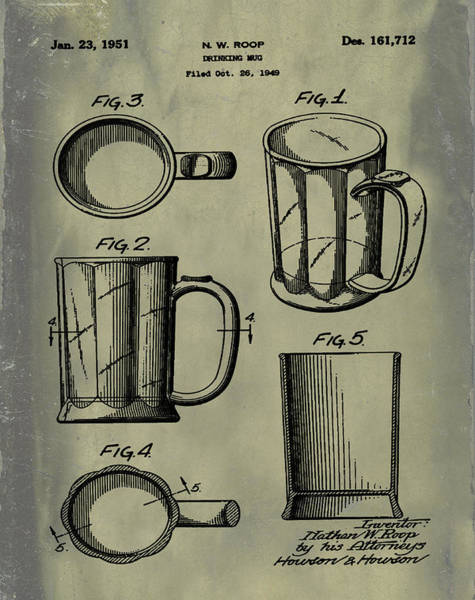Digital Art - Beer Mug Patent 1951 In Vintage by Bill Cannon