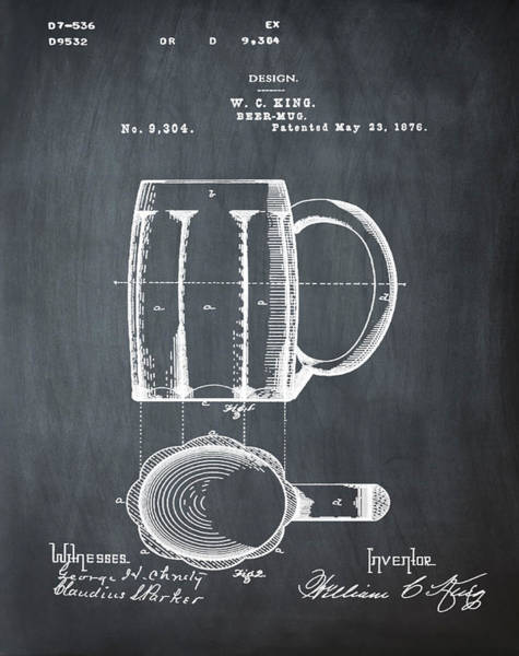 Photograph - Beer Mug Patent - Chalk by Bill Cannon