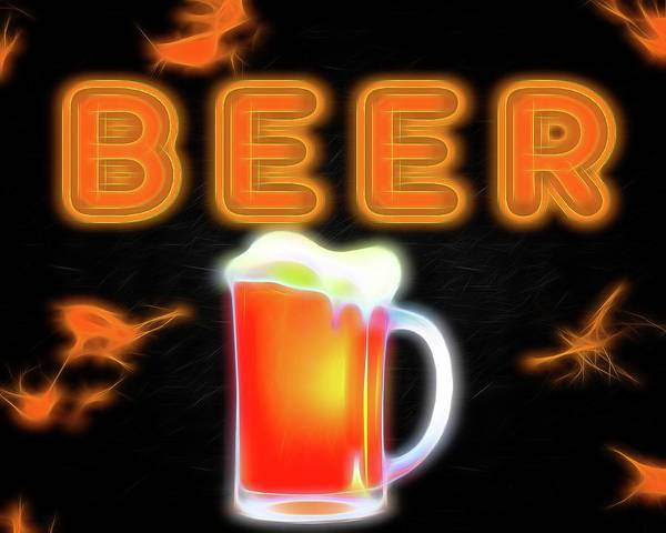 Wall Art - Mixed Media - Beer Neon Sign by Dan Sproul