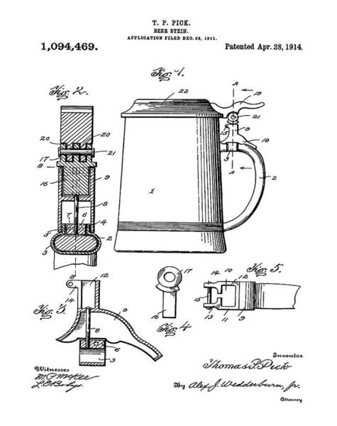 Digital Art - Beer Stein Patent 1914 by Bill Cannon