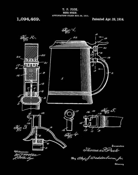 Digital Art - Beer Stein Patent 1914 In Black by Bill Cannon