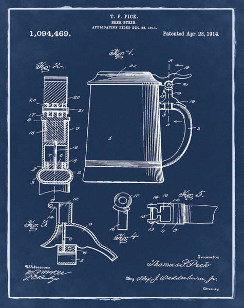 Digital Art - Beer Stein Patent 1914 In Blue by Bill Cannon