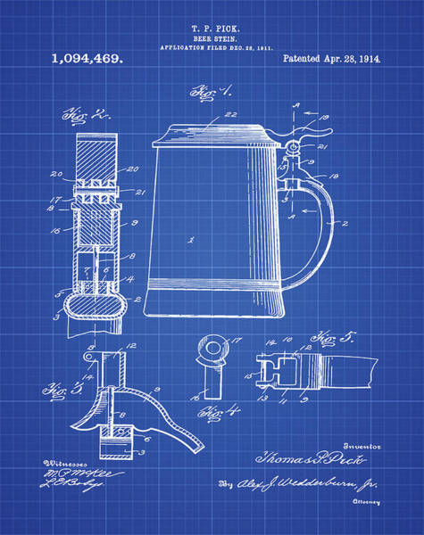 Digital Art - Beer Stein Patent 1914 In Blue Print by Bill Cannon