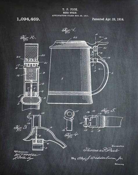 Digital Art - Beer Stein Patent 1914 In Chalk by Bill Cannon