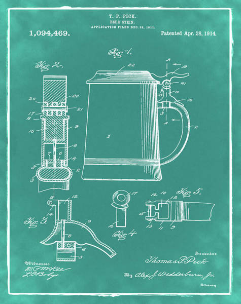 Digital Art - Beer Stein Patent 1914 In Green by Bill Cannon