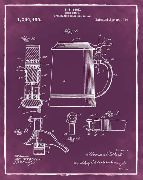 Digital Art - Beer Stein Patent 1914 In Red by Bill Cannon