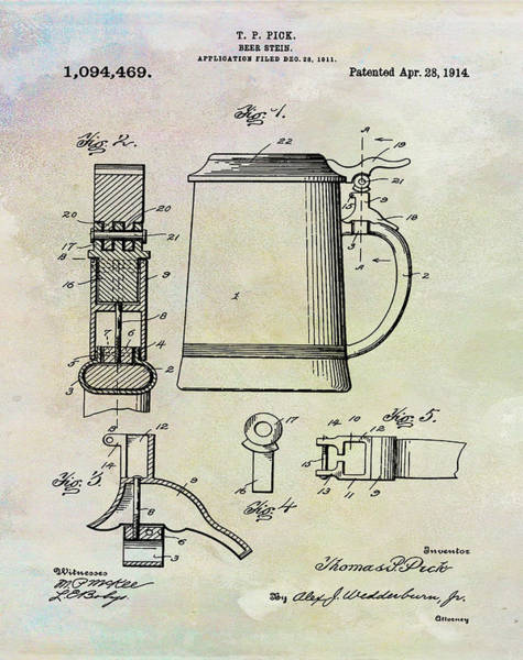 Digital Art - Beer Stein Patent 1914 In Weathered by Bill Cannon