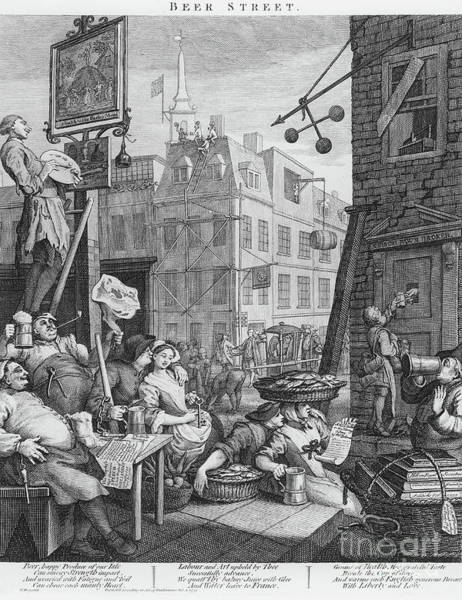 Wall Art - Drawing - Beer Street, 1751 by William Hogarth