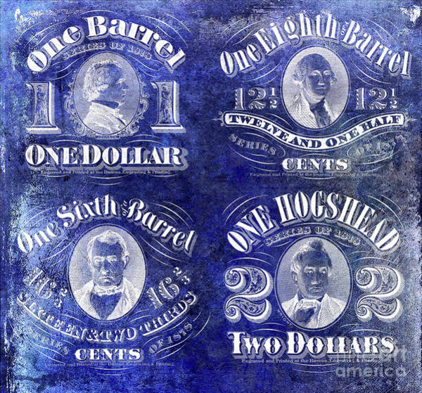 Wall Art - Photograph - Beer Tax Stamps Circa 1878 Blue by Jon Neidert