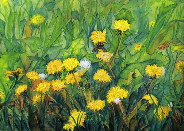 Dandilions Painting - Bees In Dandilions by Catherine Wilson