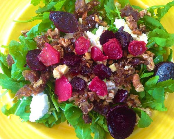 Photograph - Arugula Beet Goat Cheese Date Walnut Salad by Polly Castor