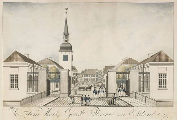 Holy Ghost Drawing - Before The Holy Ghost Gate In Oldenburg by Gottlob Friedrich Ferdinand David