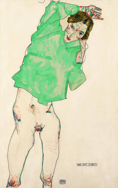 Lgbt Painting - Before The Mirror by Egon Schiele
