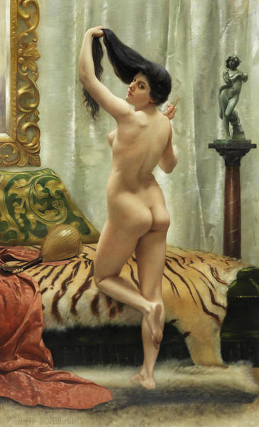 Posture Painting - Before The Mirror by Robert Barrett Browning