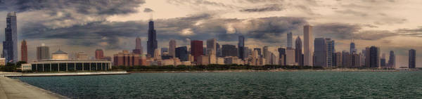 Cloud Cover Mixed Media - Before The Spring Storm Chicago Lakefront Panorama 01 by Thomas Woolworth