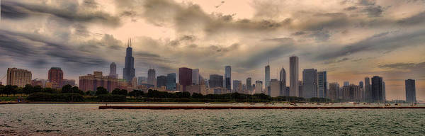 Cloud Cover Mixed Media - Before The Spring Storm Chicago Lakefront Panorama 02 by Thomas Woolworth