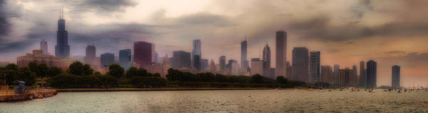 Cloud Cover Mixed Media - Before The Spring Storm Chicago Lakefront Panorama 04 by Thomas Woolworth