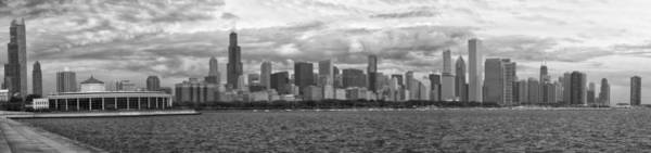 Cloud Cover Mixed Media - Before The Spring Storm Chicago Lakefront Panorama 05 Bw by Thomas Woolworth
