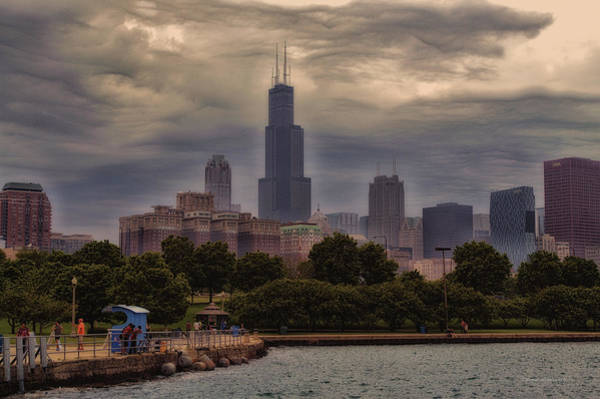 Cloud Cover Mixed Media - Before The Spring Storm Chicago Sears Willis Tower 01 by Thomas Woolworth