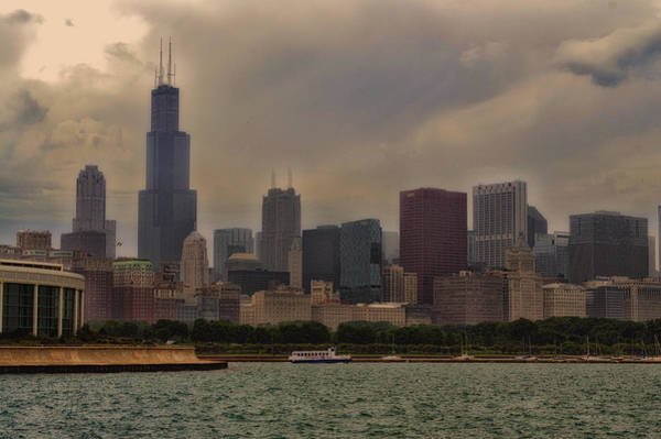 Cloud Cover Mixed Media - Before The Spring Storm Chicago Sears Willis Tower 02 by Thomas Woolworth